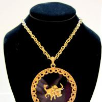 Vintage Taurus Lucite Pendant Necklace