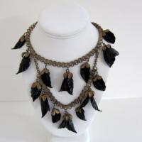 Vintage Art Deco Bookchain Leaves Necklace