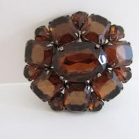 Vintage Amber Glass Brooch