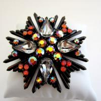 Vintage Florenza Art Glass and Rhinestone Brooch