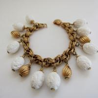 Vintage Napier Chunky White and Goldtone Charm Bracelet