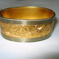 Vintage Silver and Gold Floral Design Bangle Bracelet
