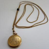 Antique Locket with Etruscan Style Slide