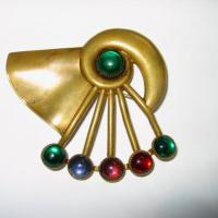 Brass Brooch with Glass Stones