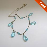 Vintage Teardrops Aqua Glass Necklace