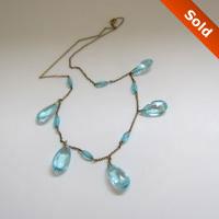 Vintage Teardrops Aqua Glass Necklace