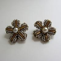 Vtg Miriam Haskell Baroque Pearl Floral Earrings