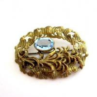 Antique Art Nouveau Aqua Stone Sash Brooch