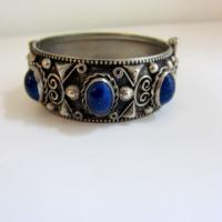 Art Deco Faux Lapis Silver Bangle